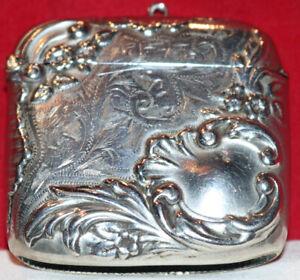 Tag-106 Silver Plate Vesta Match Safe Match Holder Webster Company