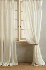 Anthropologie Pinch-Pleat Curtain Panel Ivory Linen - 50 x 108 inches