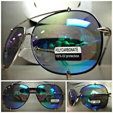 EXAGGERATED VINTAGE RETRO Style SUN GLASSES SHADES Chrome Frame Blue Green Lens