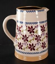 """Nicholas Mosse Art Pottery Ireland Clematis Pitcher 8"""" Hand Painted"""