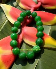 Chinese Maw Sit Sit Jade bracelet Green 12mm bead 250cts2.5-3.5+in.