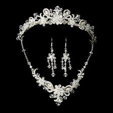 Silver Bridal Jewelry Set and Tiara of Swarovski Crystal Wedding Jewelry