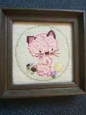 Vintage Needlepoint Kitty Cat Finished Framed Completed Homedecor baby kid room