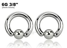 "PAIR 6GA 3/8"" 10mm Small Size Surgical Steel Captive Bead Ring Earrings Septum"