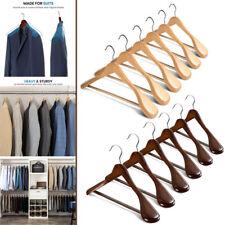 6Pcs Wide Shoulder Wooden Hangers Non-Slip Pants Bar for Coat Clothes Dress Suit