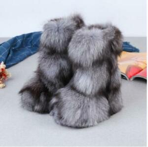 Women 100% Natural Real Fox Fur Boots Long Boot Fur Boots Pull On  Shoes Sz