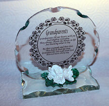 Grandparents Round Cut Glass Plaque  Personalised Unique Gift #5