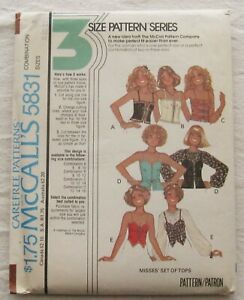 Vintage Top Sewing Pattern*McCalls 5831*Size 8-12*CUT*hooked*corset-style*laced
