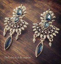 Stunning pearl & blue crystal vintage chandelier statement large drop earrings