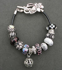 Black purple & silver rhinestone European style bracelet flower clasp, UK seller