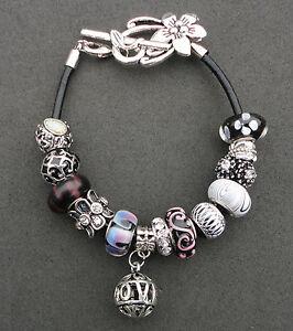Black purple & silver rhinestone European style bracelet flower clasp, UK seller