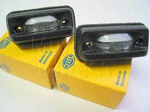 PAIR of Hella German OEM Number Plate Light Lamps VW Polo Hatch Coupe 1982-1990
