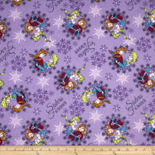 Disney Frozen Sisters Ice Skating snowflake 100% flannel fabric by the yard