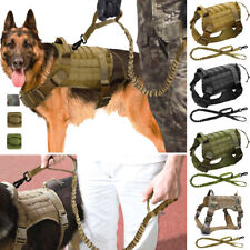 Tactical Service Military K9 Working Molle Dog Nylon Vest Harness and Leash Set