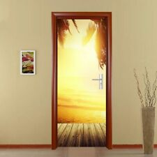3D Door Mural Art Sticker Removable Self Adhesive Wall Decals Home Decor Sunset