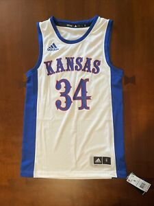 NEW Kansas Jayhawks No. 34 Adidas Swingman Jersey Size Small KU White (FK2020)