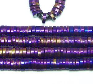 Coated Hematite Flat Oval Purple Heishi 3x1mm 15.5 Inch Strand. High Quality