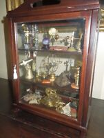 Vintage Miniature MahoganyCabinet of Scientific Objects