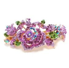 BABY Purple Rhinestone Crystal Gold Toner Metal rose hair claw clip Barrette