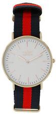 Softech Unisex Versilbert Ziffernblatt Rot & Schwarz Nylon Armbanduhr Uhr Analog