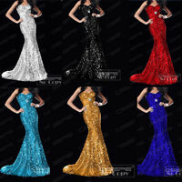 Formal LongMermaid Sequins Ball Gown Party Prom Evening Dresses 6 8 10 12 14 16