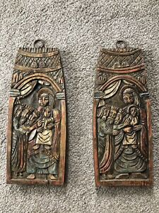 Antique Spain Relief Panels featuring 3 Kings Mary and Jesus ~ Signed