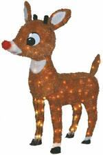 "Christmas Decor Lighted Rudolph 26"" Lawn Ornament Pre Lit Soft Tinsel 100 Lights"