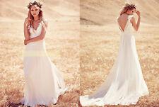 Gothic Greek Western Country Beach Wedding Dress Lace Boho Bridal Gown Open Back