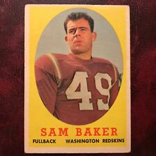 1958 Topps Set SAM BAKER #34 WASHINGTON REDSKINS OREGON STATE - VG/VG-EX