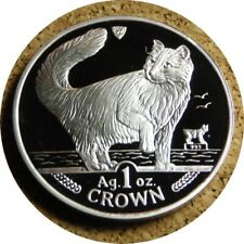 New listing elf Isle of Man Iom 1 Crown 1991 Norwegian Cat Silver Proof with Case Coa
