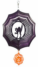 SWEN Products HOLIDAY HALLOWEEN SCARY CAT Web PURPLE COMBO Metal Wind Spinner