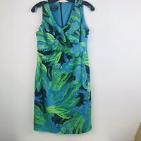 Jones New York Dress Green Blue Sleeveless Floral Career Work 8P Womens Vneck
