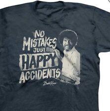 Bob Ross Men's KO Vintage TV Painter Grey T-Shirt Size Large No Mistakes Happy