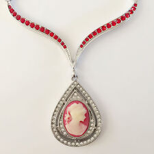 New Red Lady Cameo Vintage Style Pear Drop Dangle Pendant Chain Necklace NE1239
