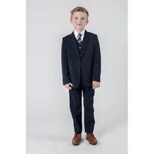 5 piece boys SLIM FIT suit navy/black/grey sizes 1-15 yrs