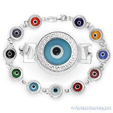 Evil Eye cuenta de Cristal Turco Nazar Clave Griega Mati Hamsa Pulsera plata ley