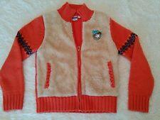Orange Womens S Vintage Disney Winnie the Pooh Zip UP Wool & Fur Sweater Jacket
