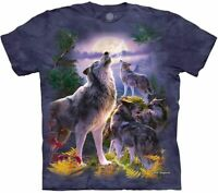 Wolf Pack Moon Wolves Family Animal Dog Purple The Mountain T-Shirt Adult S-3X