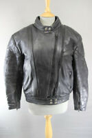 AKITO RAPIDE BLACK LEATHER BIKER JACKET + BACK PROTECTOR/THERMAL LINING: SIZE 18