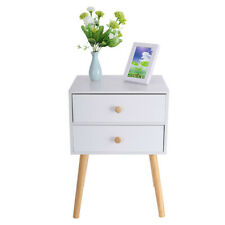 2 Drawers Nightstand Side Storage Wood End Table Bedroom Side Bedside Modern USA
