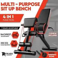 Adjustable Weight Dumbbell Bench Press Bench Fitness Incline Sit up Gym Home AU