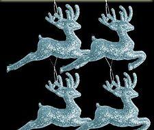 12 Blass Eisblau Glitzer Rentiere Weihnachtsbaum Kugeln Dekorationen