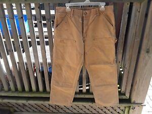 Work Pants. Carhartt Dungaree Khaki Cargo Work Pants. Duck Double Front 34 × 30