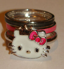 HELLO KITTY SANRIO 925 STERLING SILVER GP Crown Red Bow Stack Ring 6.3 GRMS Sze7