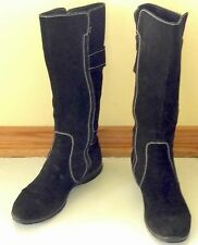 GEOX Tall Women Round Toe Suede Black Zipper Buckle Boots Shoes 39 9M