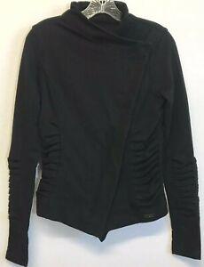Lululemon Solace Jacket 6 Black Asymmetrical Zip Button Moto Jacket