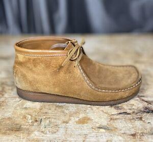 Clarks Mens Sz 12 US Originals WALLABEE Shoe Brown Suede Lace Crepe Soles