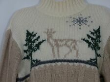 Liz Claiborne Sport 100% Wool Medium Sweater Jumper Winter Deer Tree Beige Green