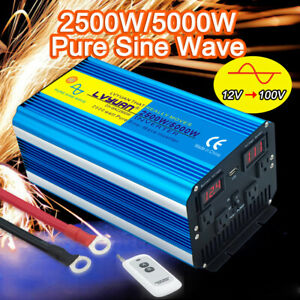 2500w 5000w pure sine wave power inverter 12v - 110v 120v 4AC remote control USB