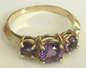 Amethyst Ring Solid 10k Gold Natural Gemstones  Size 6 US  Weight  2.28 Grams